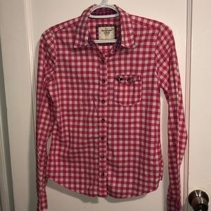 Abercrombie and Fitch Pink Plaid Shirt